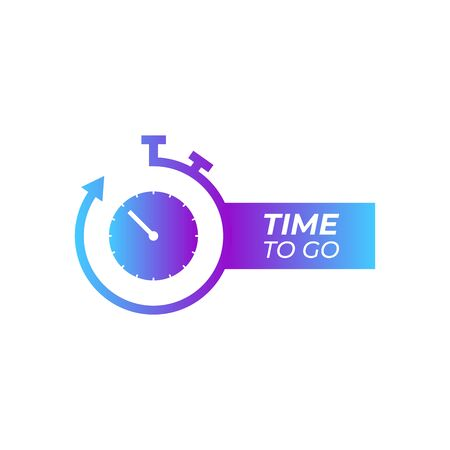 Color Stopwatch icon isolated on white background. Time to go icon. Gradient. Vector Illustration