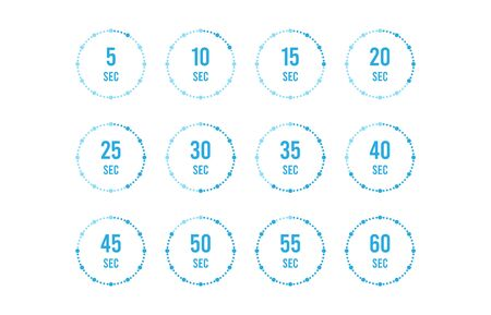 Set of timers. Sign icon. Full rotation arrow timer. Colored flat icons. Flat Design Vector Illustration. Stock Illustratie