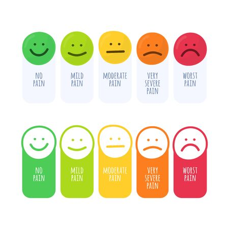 Rating pain scale horizontal gauge measurement assessment level indicator stress pain with smiley faces scoring manometer measure tool vector illustration isolated on white. Doodle hand draw style.