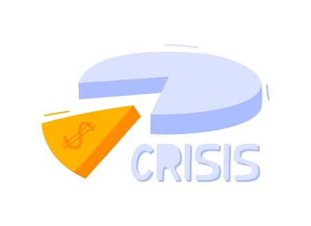 Economic crisis concept. Doodle pie chart on a white background vector illustration