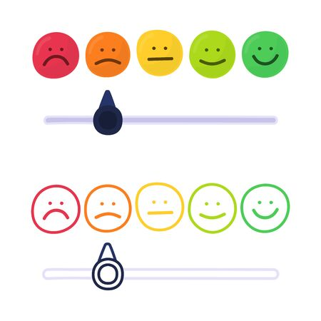 Feedback or rating scale with smiles representing various emotions in hand draw style. Customer's review and evaluation of service or good. Colorful vector illustration in doodle style. Çizim