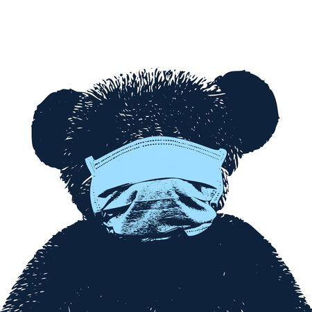 Portrait of a bear wearing medical mask vector illustration. Coronavirus concept. Respiratory protection. Stock Illustratie