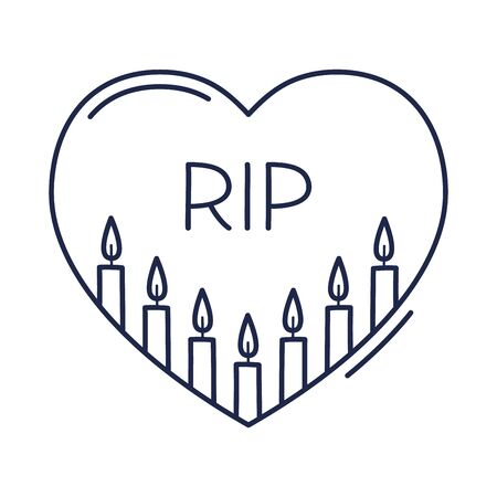 Candles inside the heart outline icon. The concept of grief, loss, death. Vector illustration hand-drawn in doodle style