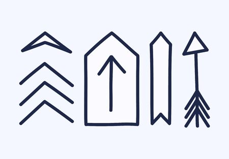 Set of hand drawn different decorative arrow. Sketch style vector illustration. Arrow element drawn with a brush-pen. Isolated vector.