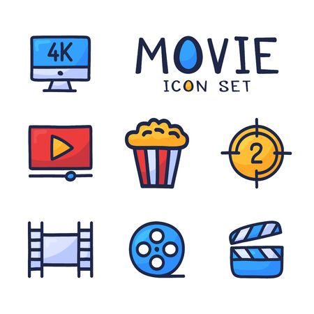Simple Set of Cinema Related Vector cartoon outline Icons. Contains such Icons as Movie 4k, Popcorn, Video Clip and more. Hand draw vector illustration