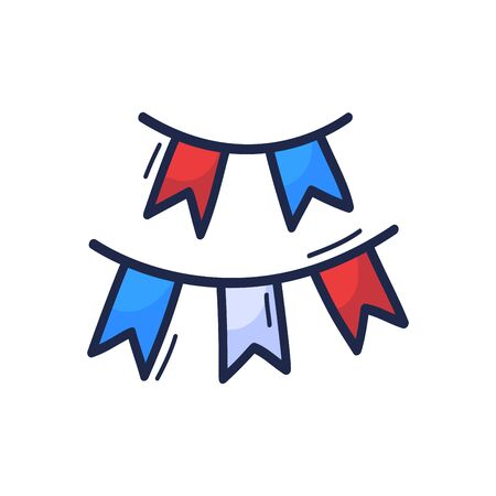 Cute doodle buntings in hand drawn in cartoon style colors for nautical decor or fourth of july designs