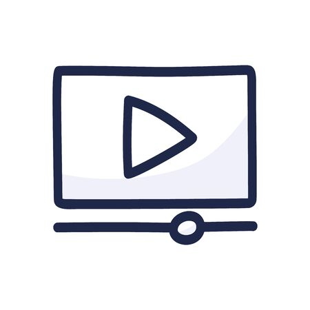 video player play button simple outline color icon isolated on white. Cartoon hand draw vector illustration Stockfoto