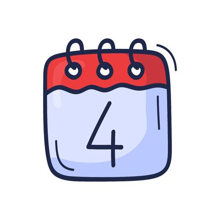 The calendar icon with the number of July 4 is drawn by hand in cartoon style. Vector illustration for Independence Day in the United States Stockfoto