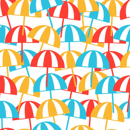 Colorful Beach umbrellas seamless pattern. Summer background. Vector illustration