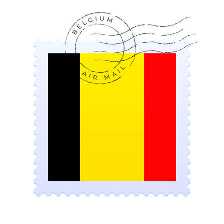 belgium postage mark. National Flag Postage Stamp isolated on white background vector illustration. Stamp with official country flag pattern and countries name Vecteurs