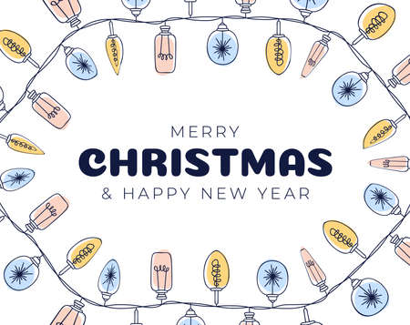 Xmas light bulbs frame, vertical circle shape. Simple but cute Christmas hand drawn frame. Vector illustration.
