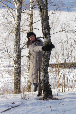 limetree: A girl in winter forest in the afternoon