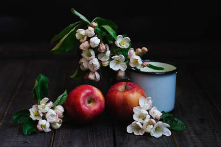 Still life with apples and flowers of apple tree on wooden table. Dark background. Selective focus.