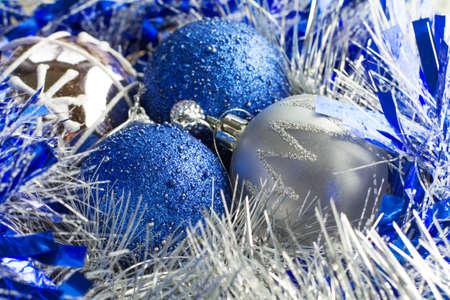 Christmas balls in tinsel Banco de Imagens