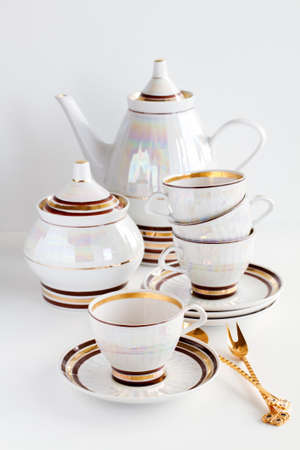 complete set of coffee service on a white background