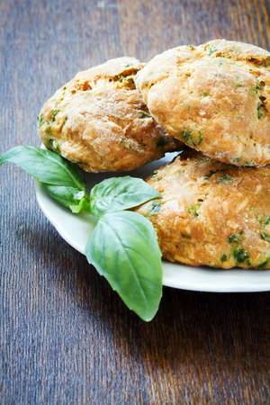 Snack scones or cookies with basil and parmesan