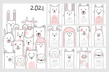 Childish calendar for 2021 year. Monthly calendar with cute animals. Hand drawn doodle sketch