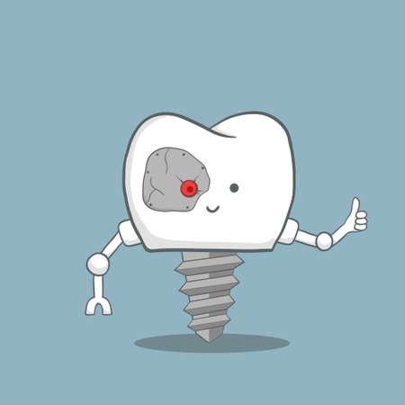 cute cartoon tooth implant looks like a robot