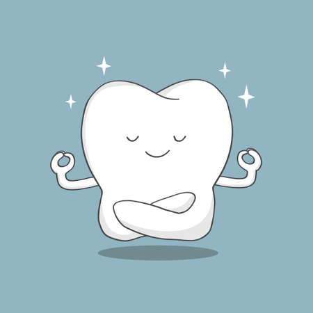 cartoon tooth sits in a lotus position and meditates