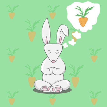 Cute bunny sitting in yoga lotus pose and dreaming of carrots