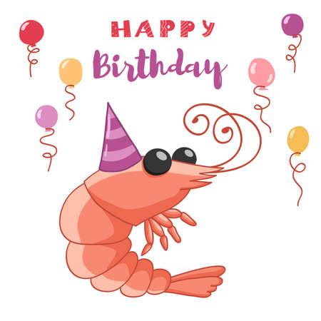 Happy birthday greeting card with shrimp. Hand drawn vector illustration.