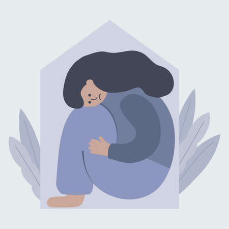 Lonely depressed woman is sitting closely house. Stay at home concept. Vektorové ilustrace