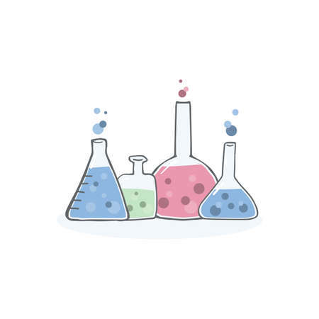 Set chemistry test tubes, different shapes. Collection of hand drawn vector flasks in doodle style.