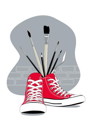 赤のスニーカーとゲリラのアート コンセプトとして芸術のブラシ  イラスト・ベクター素材