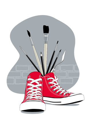 Red Sneakers and artistic brushes as Guerilla art concept