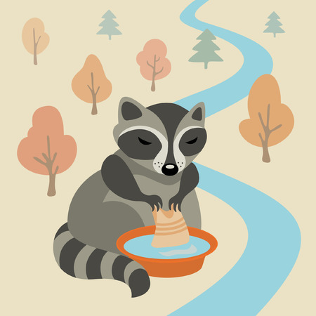 Vector illustration with raccoon washing clothes Illustration