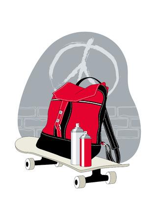 arte callejero: Calle concepto de arte: mochila y Latas de aerosol sobre la patineta Vectores