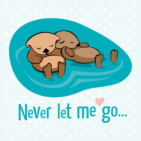 Vector illustration with two sea otters holding their paws in the dream that they are not separated by the stream