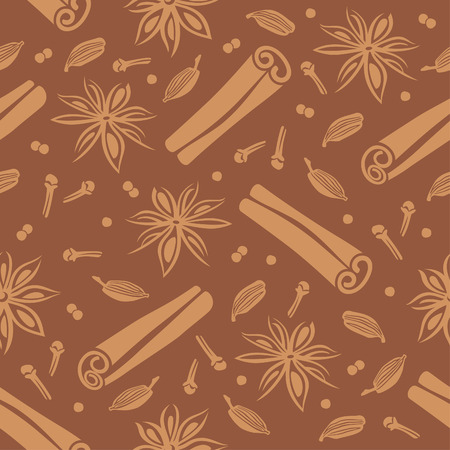Seamless vector background with spices for coffee