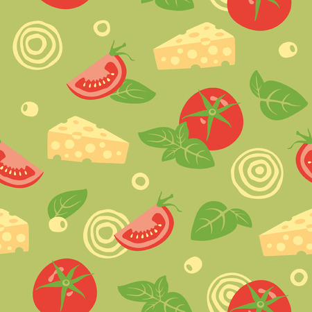 tomatoes: Seamless vector background with tomato, cheese, basil, olives and onion