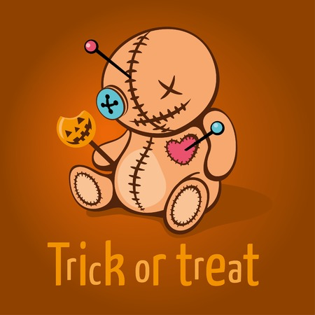 sugarplum: Cute Halloween invitation or greeting card with cartoon Voodoo Doll