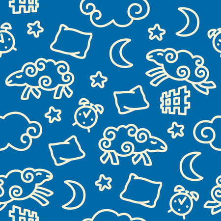 Seamless pattern with sheep jumping over a fence Vector