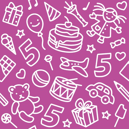 Happy birthday pattern with funny toys and number 5 Vector