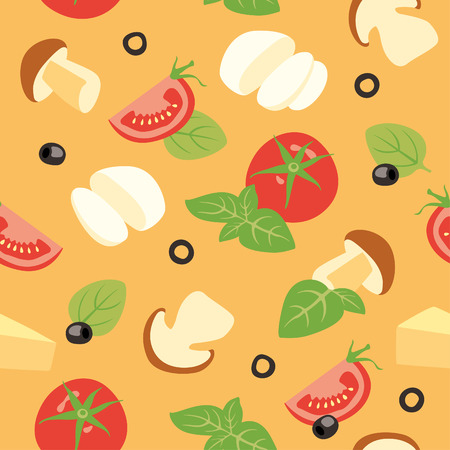 Seamless vector background with tomato, cheese, basil, olives and mushrooms