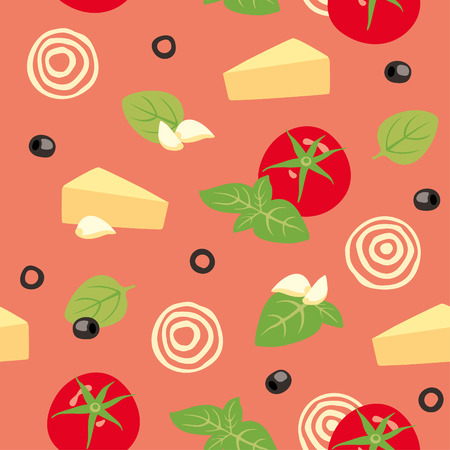 parmesan: Seamless vector background with tomato, cheese, basil, olives and garlic Illustration