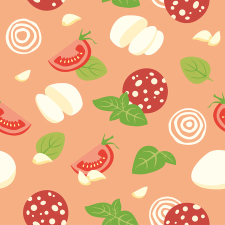 italian sausage: Seamless vector background with tomato, cheese, basil, garlic and Pepperoni