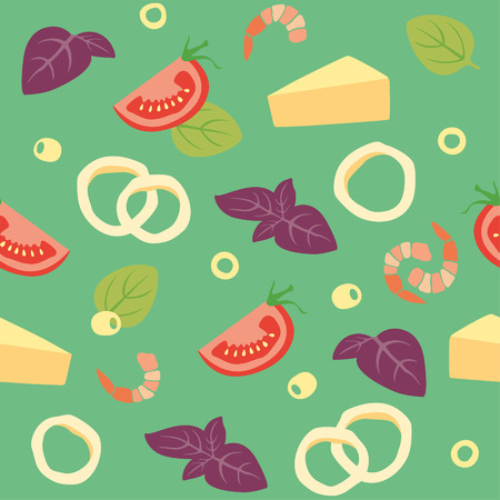 parmesan: Seamless vector background with Seafood, cheese, basil, olives