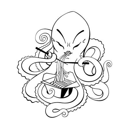 eating noodles: Cute octopus eating noodles