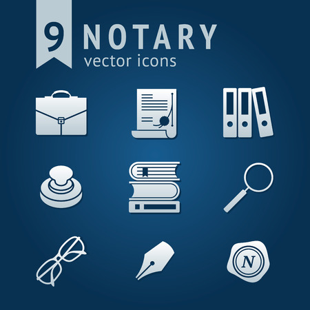 notary: Set of 9 vector icons with Notary public tools Illustration