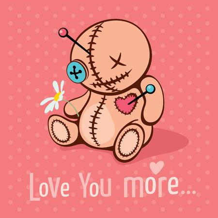 unrequited love: Ilustraci�n vectorial con el mu�eco de vud� lindo en el amor no correspondido Vectores