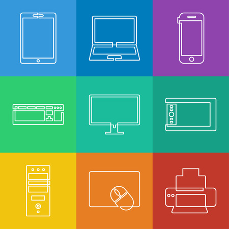 Vector linear icons collection of electronics and mobile devices Vector