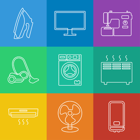 Vector linear icons collection of household appliances Vector
