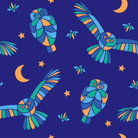 glowworm: Fabulous night illustration with flying owls and fireflies