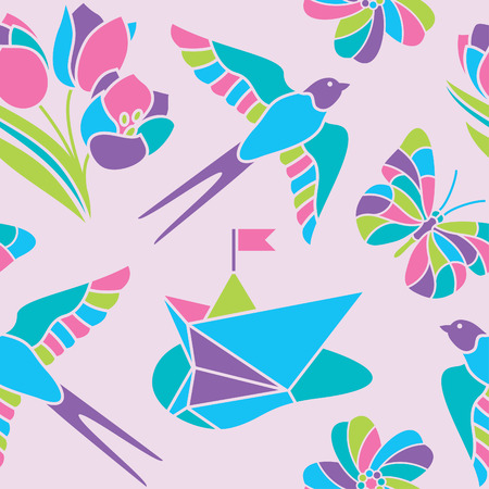 Seamless spring vector pattern in pastel colors Vector