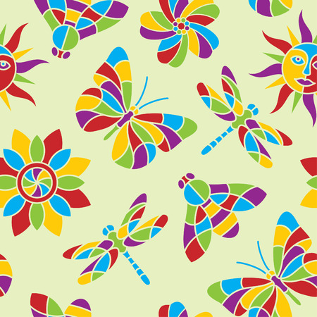 Seamless summer vector pattern in vibrant colors Vector