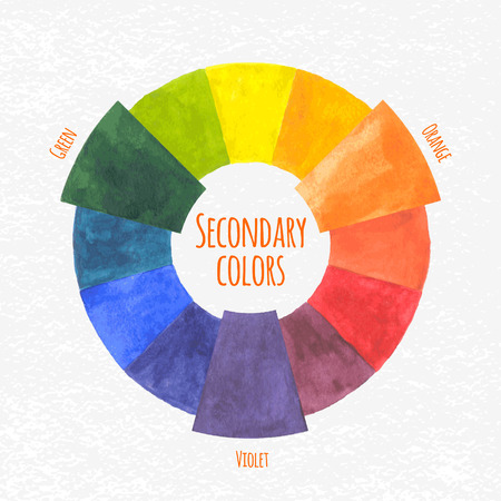 cadmium: Handmade color wheel. Secondary  colors chart - vector illustration. Illustration